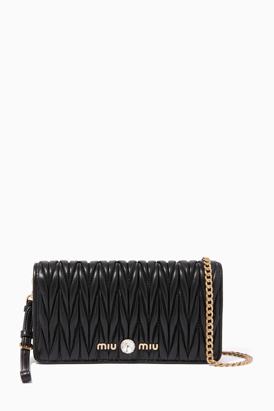 8524b1d335 Shop Miu Miu Black Matelassé Leather Chain Wallet for Women ...