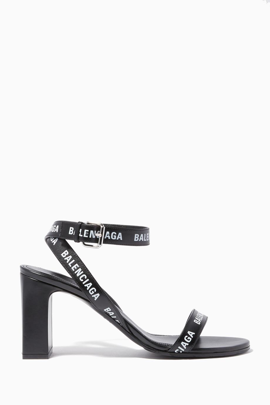 9f4c815328d Shop Balenciaga Black Logo-Strap Chunky Heel Sandals for Women ...