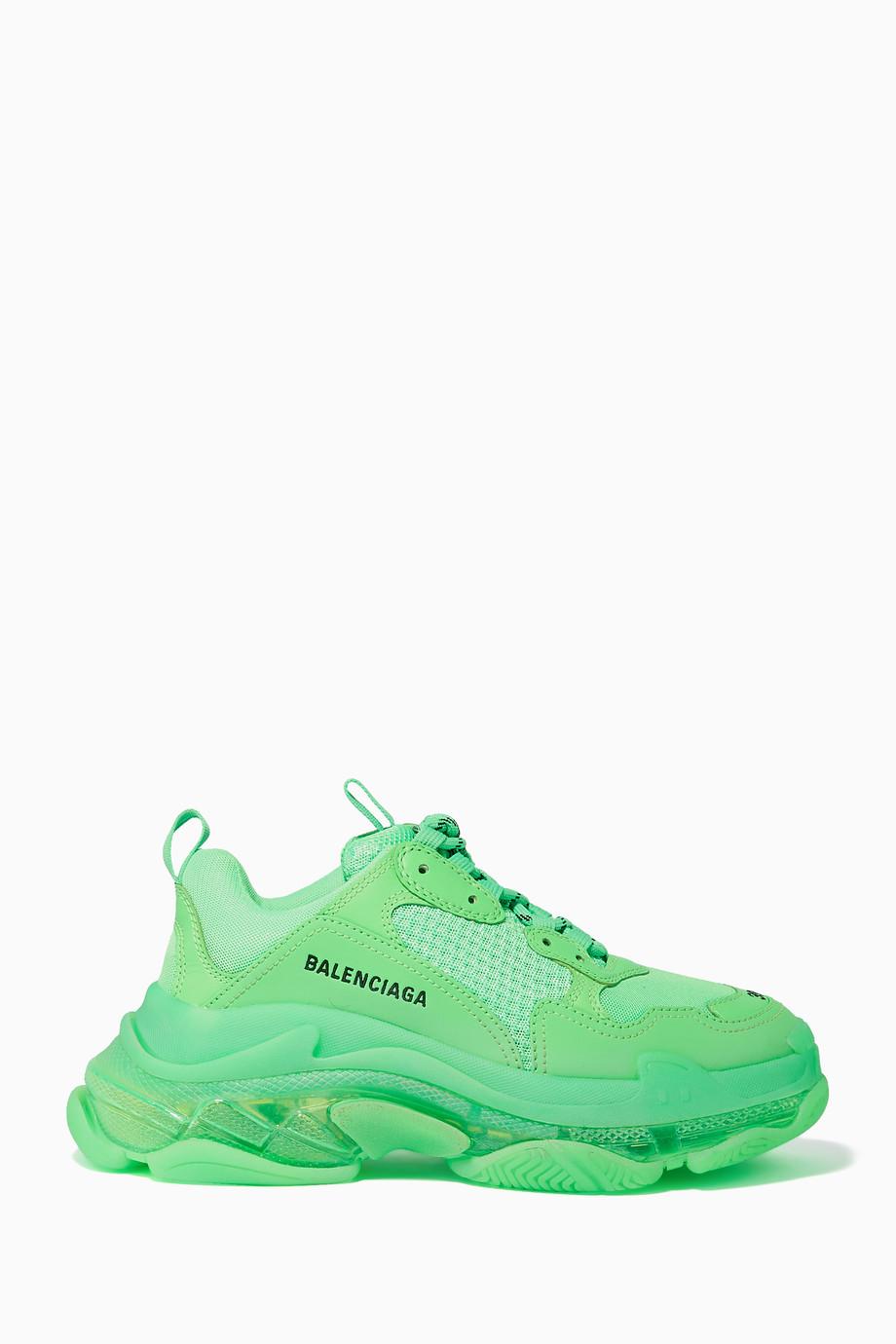 wholesale meet 2018 shoes Shop Balenciaga Green Triple S Low-Top Sneakers for Women