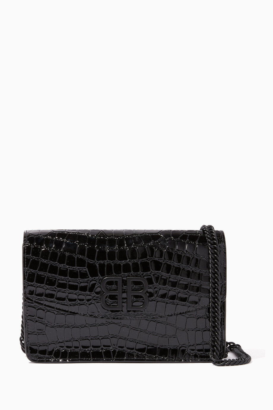 8cec7d49bce Shop Balenciaga Black BB Crocodile-Embossed Chain Wallet for ...
