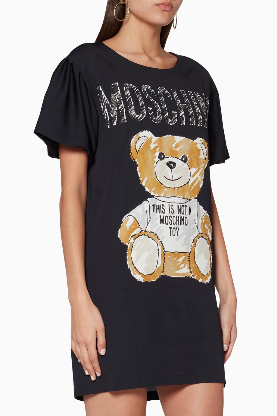 5183285b61aac Shop Moschino Black Teddy Print T-Shirt Dress for Women | Ounass Kuwait