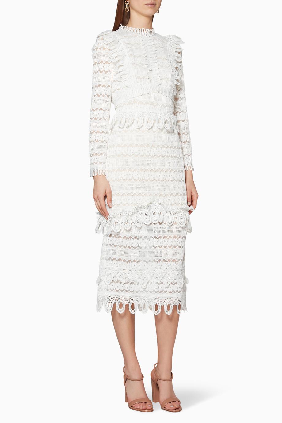 5e096312aae29 Shop Elliatt White Clover Lace Dress for Women   Ounass UAE