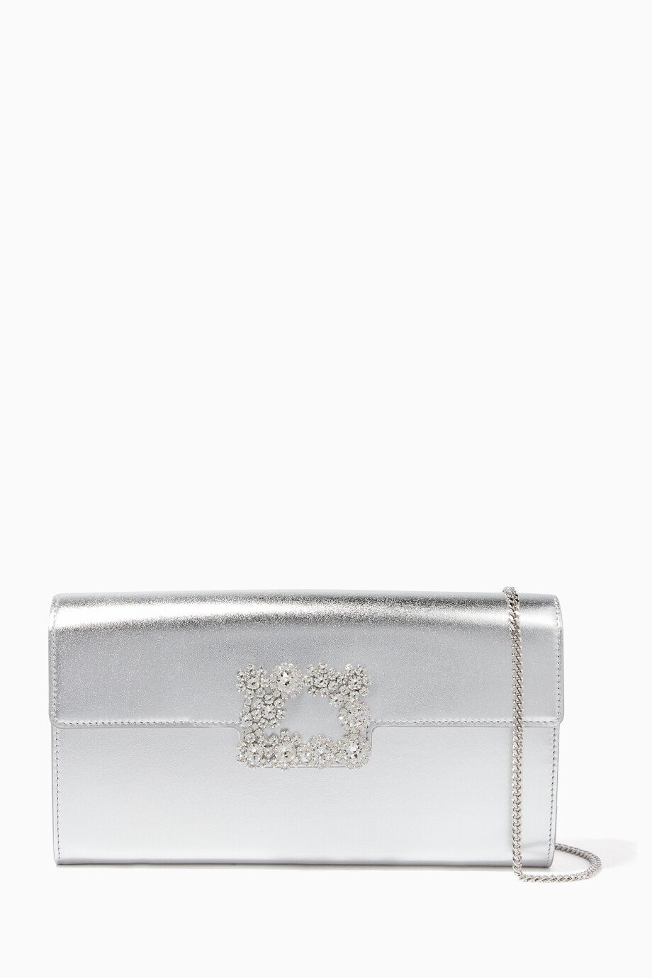 Shop Roger Vivier Silver Silver Flower Buckle Leather Clutch Bag for ... ae00242c31587