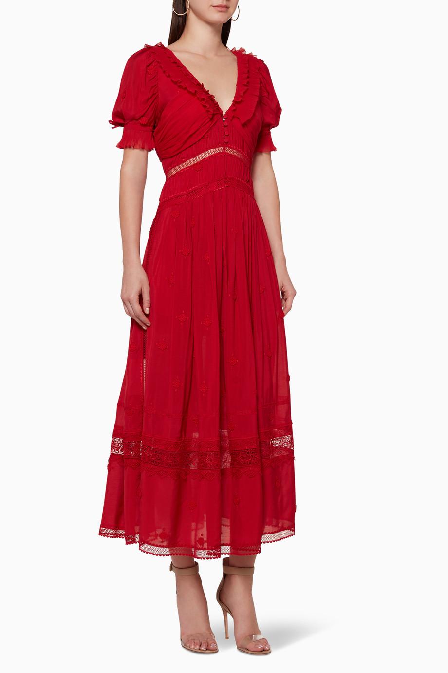 29b219956790 Shop Self-Portrait Red 3D Plumetis Midi Dress for Women | Ounass ...