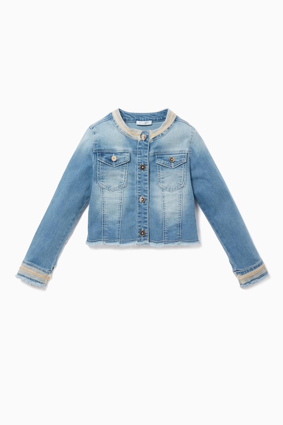 7e11f946ef6 Shop Elsy Blue Denim Jacket with Mesh Trim for Kids