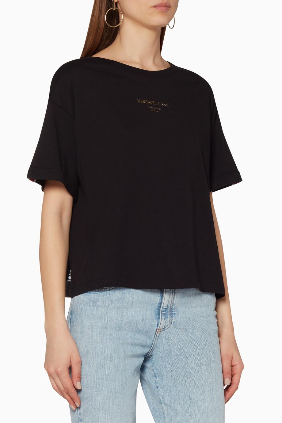 77cab55d Shop Versace Jeans Black Logo Print Boxy T-Shirt for Women | Ounass
