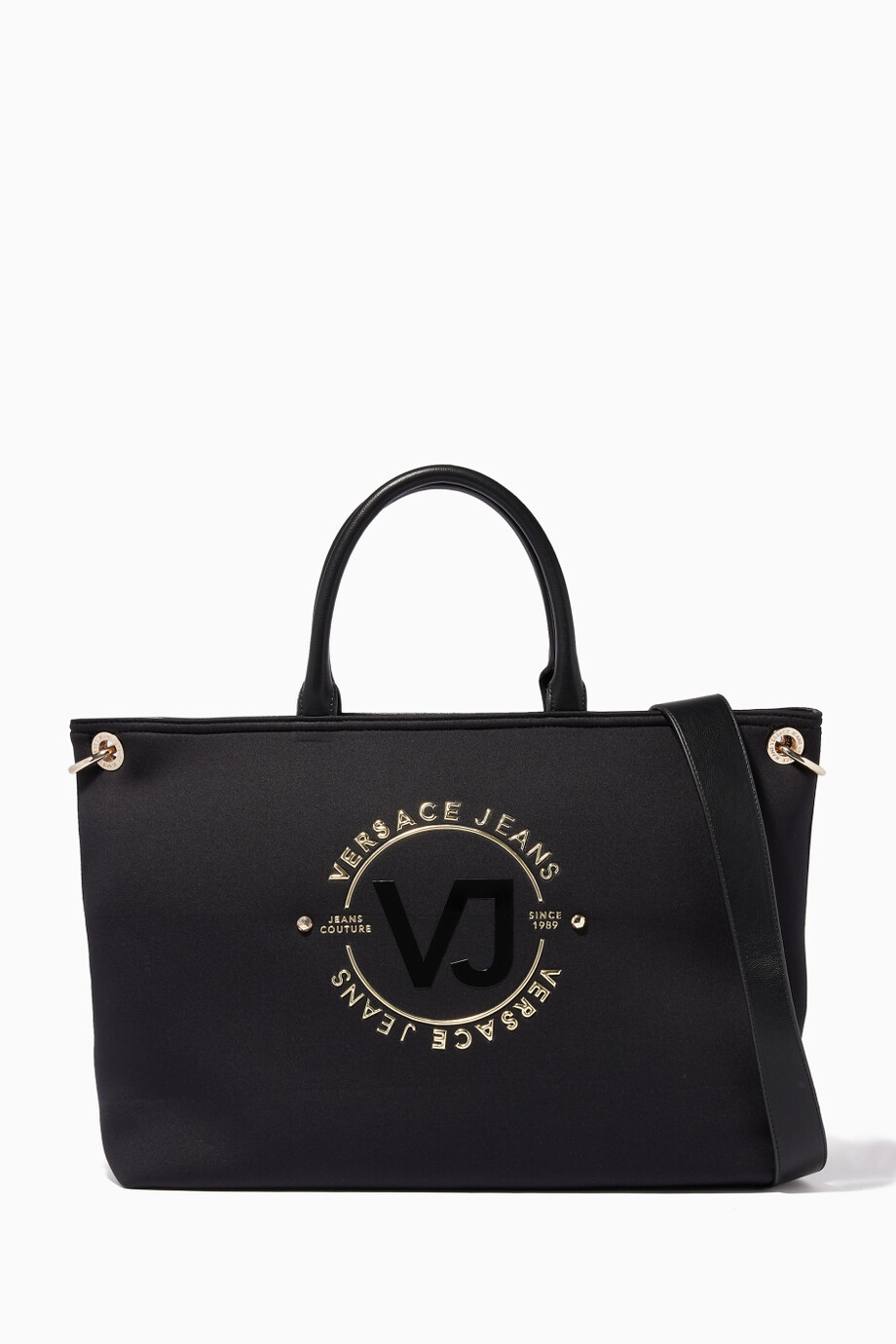 88709245aa67 Shop Versace Jeans Black Black Embossed-Logo Print Bag for ...