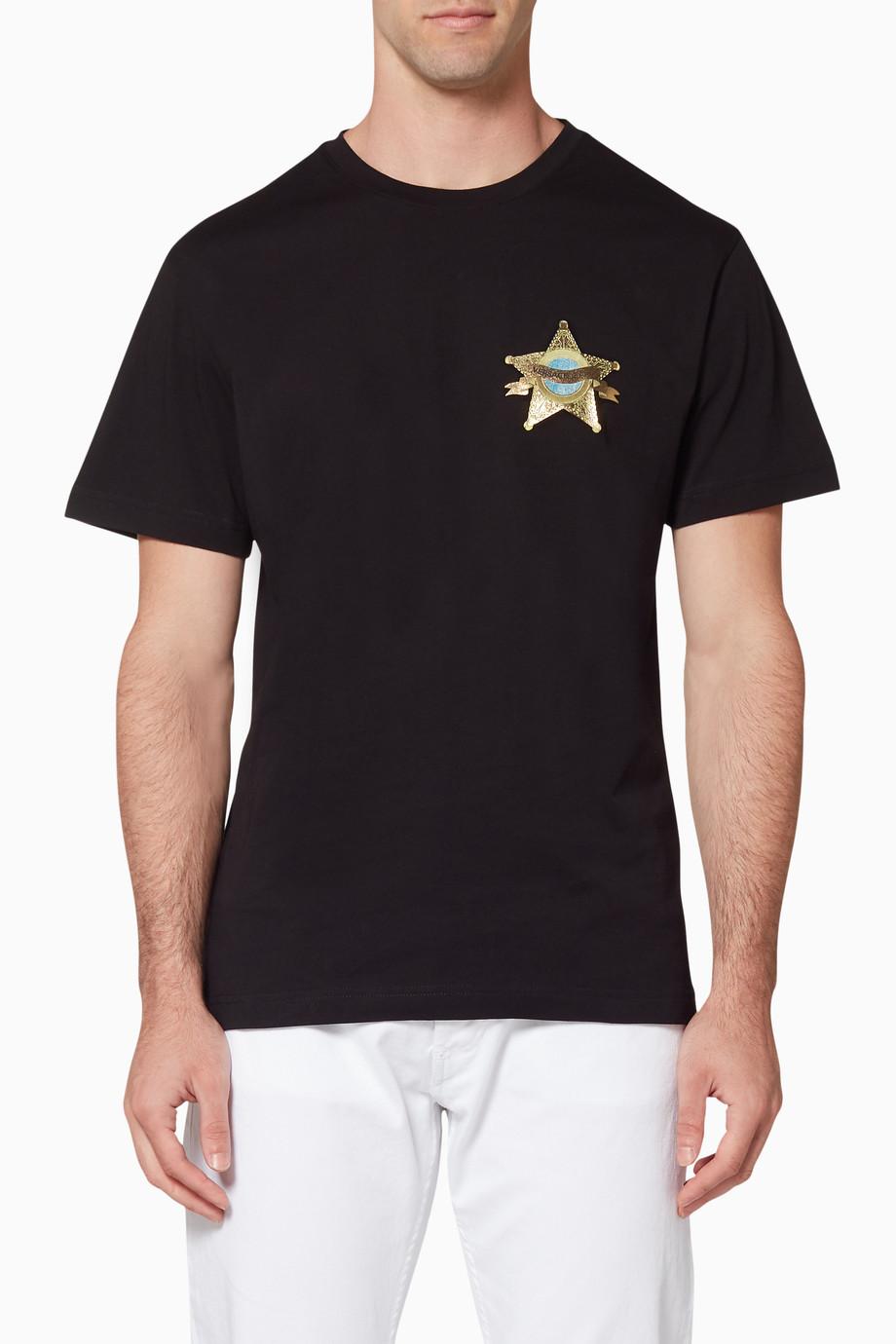 b8a4b6da9 Shop Versace Jeans Black Black Foil Star Logo T-Shirt for Men ...