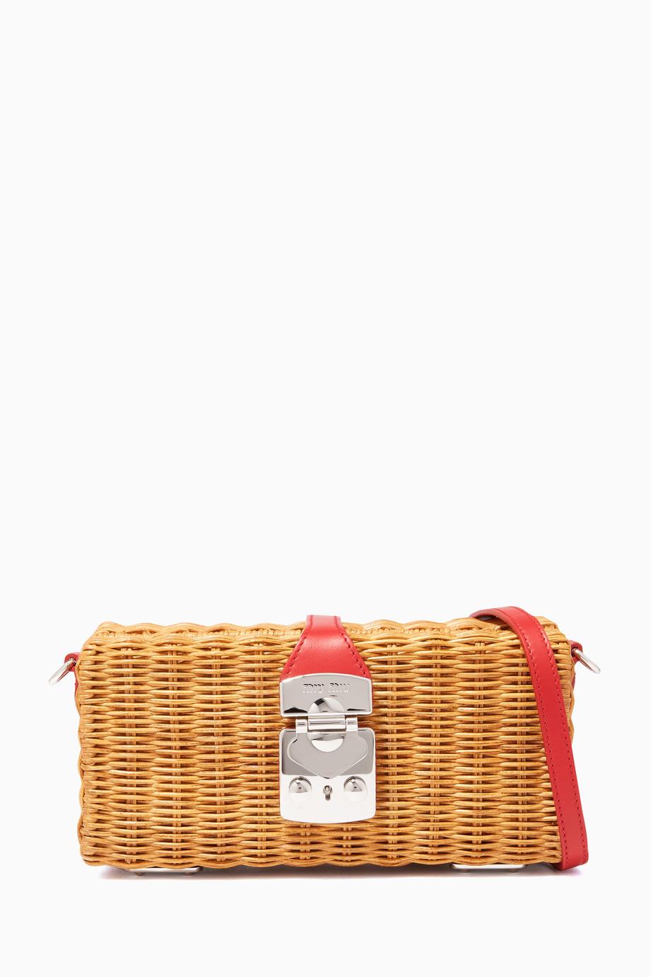 04bf32dfc1b8 Shop Miu Miu Red Woven Rattan Red Trim Clutch for Women | Ounass Kuwait
