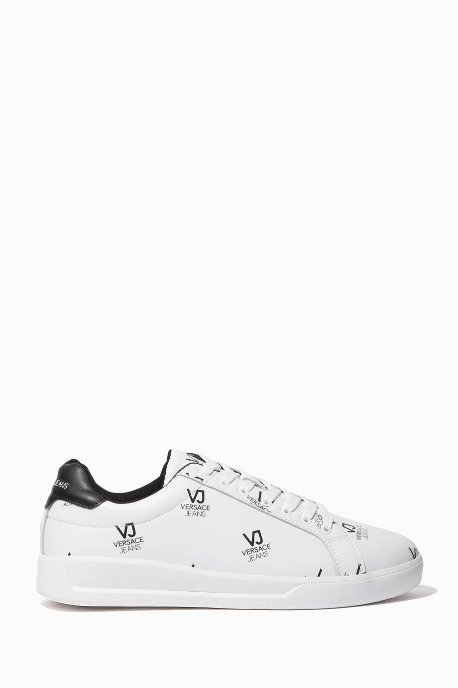 a9f7ee15 Shop Versace Jeans Black White Dotted Logo Print Sneakers for Men ...
