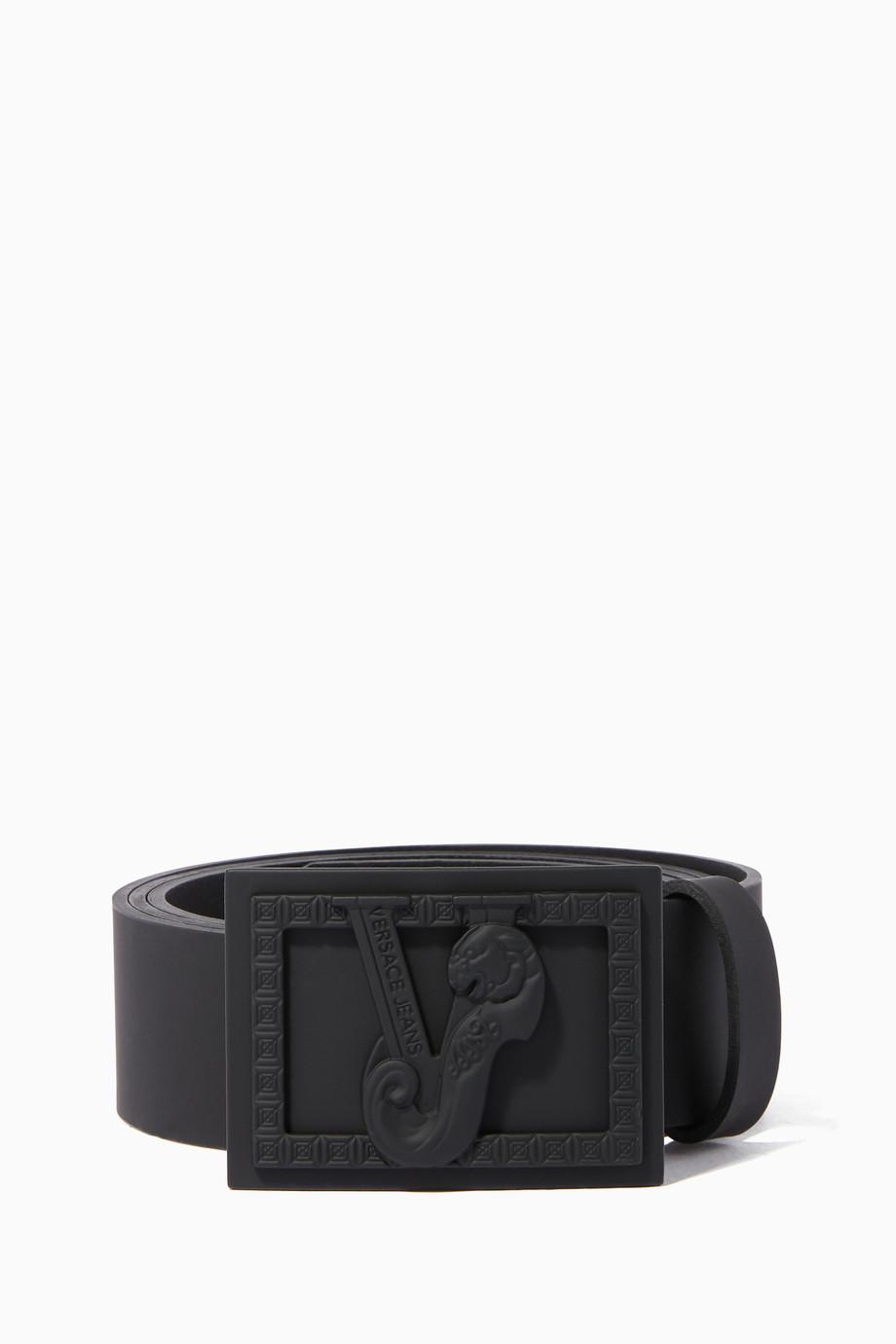 14014ca7 Shop Versace Jeans Black Black Leather Logo Belt for Men | Ounass UAE