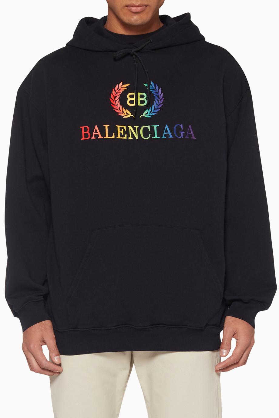 75b8e3446 Shop Balenciaga Black Rainbow Logo Graphic Hoodie for Men   Ounass UAE