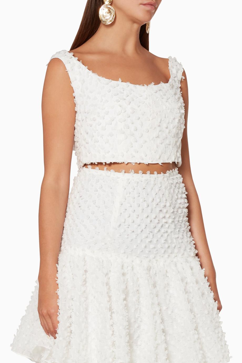 11e37f0c981 Shop Bambah Boutique White White Fuzzy Crop Top for Women | Ounass ...