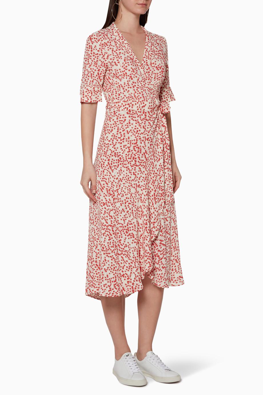 5d07fe5d Shop Ganni Red Red Goldstone V-Neckline Crepe Wrap Dress for Women ...