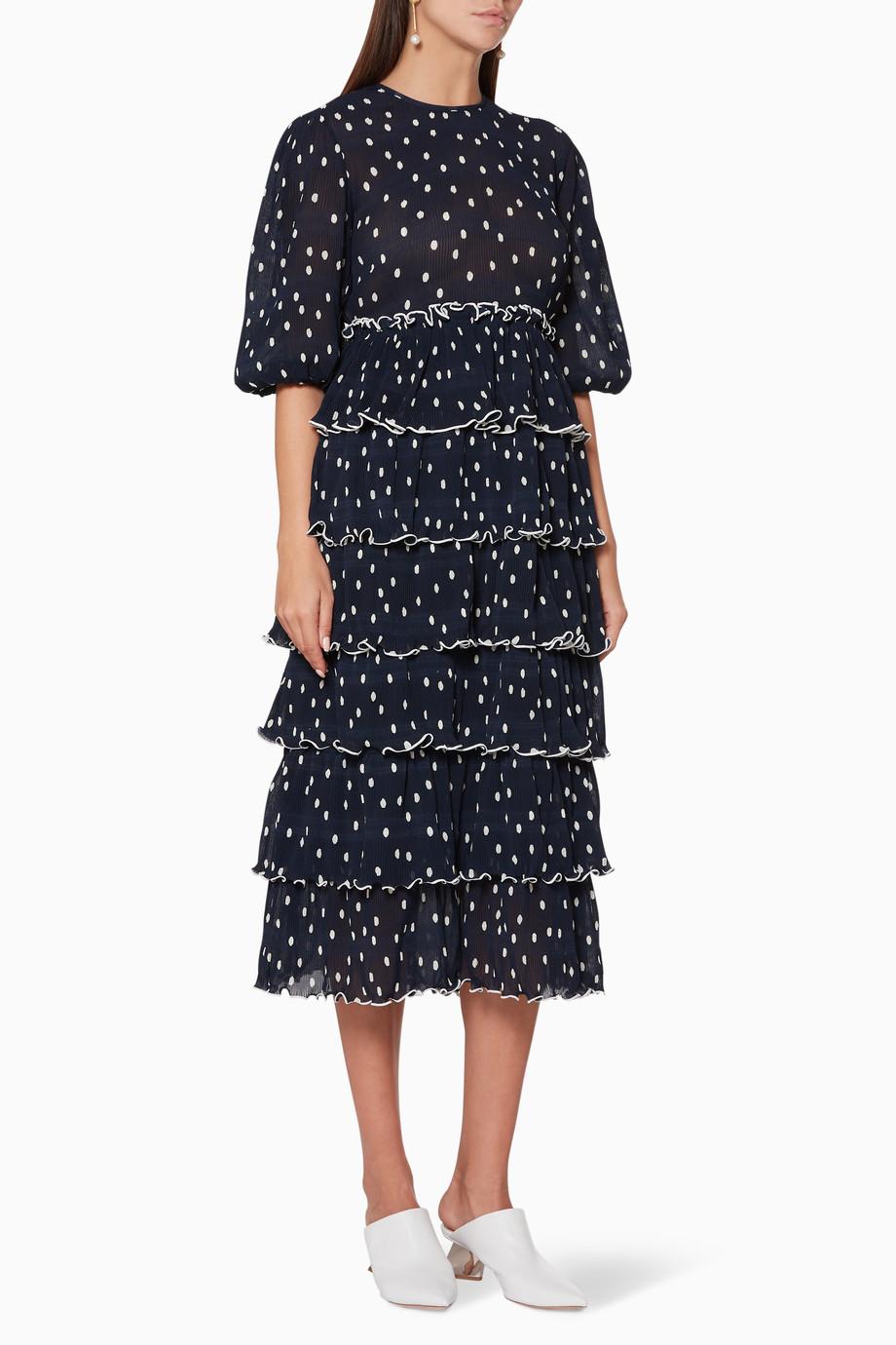 9dc08bfbd4 Shop Ganni Blue Lowell Dot Print Ruffled Tier Dress for Women ...
