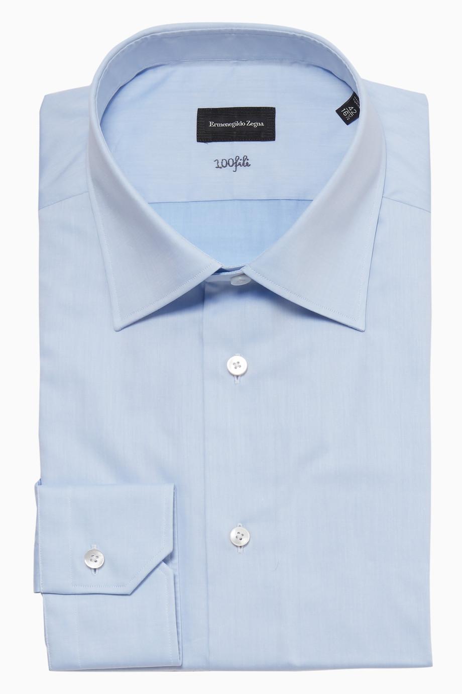 e21dfc7e40 Shop Ermenegildo Zegna Blue 100 Fili Long-Sleeved Cotton Shirt for ...