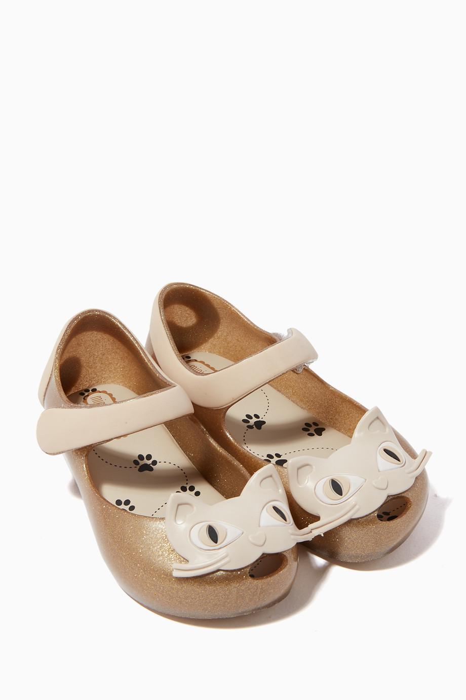 464e157f2 Shop Mini Melissa Neutral Kitten Applique Glitter Ballerina Flats ...