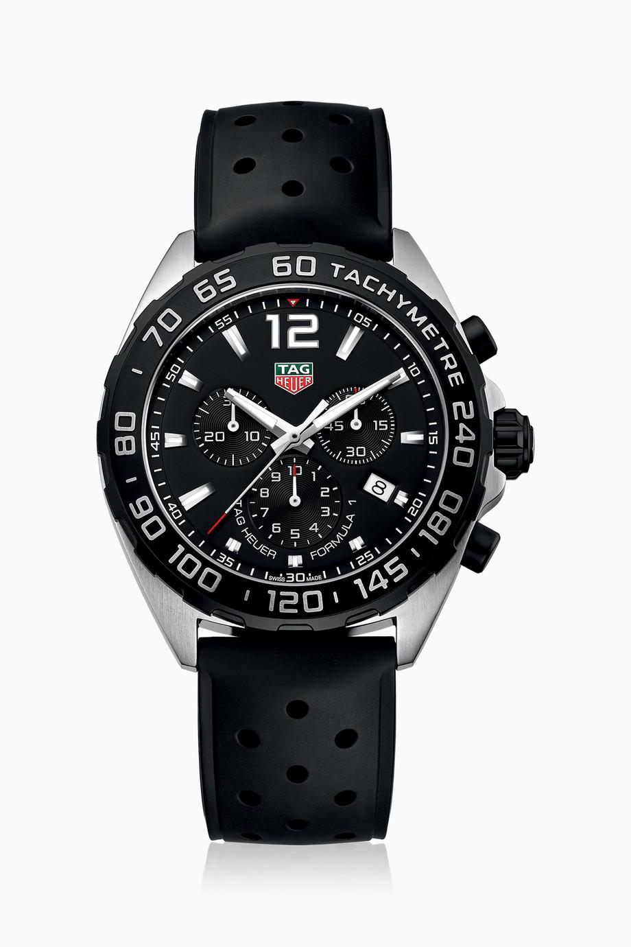 6abbbab14 تسوق ساعة كوارتز كرونوغراف فورمولا 1 TAG Heuer أسود للرجال   اُناس ...