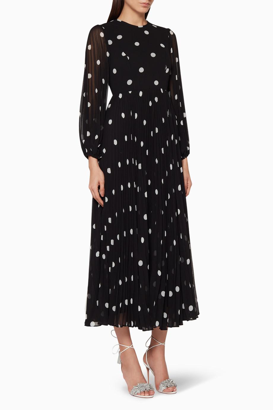 36821dd2d4b5 Shop Zimmermann Black Polka-Dot Sunray Pleated Dress for Women ...