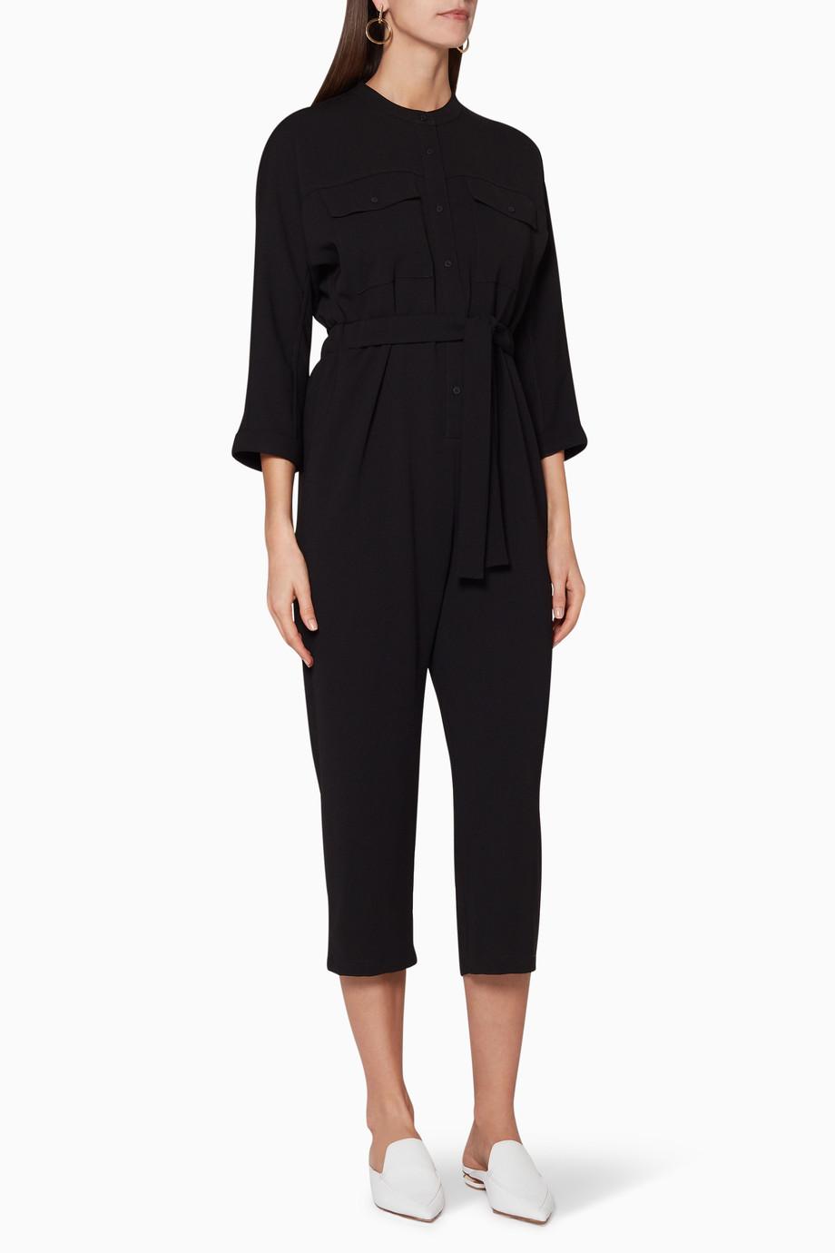 3199abd888f Shop WHISTLES Black Utility Crepe Jumpsuit for Women