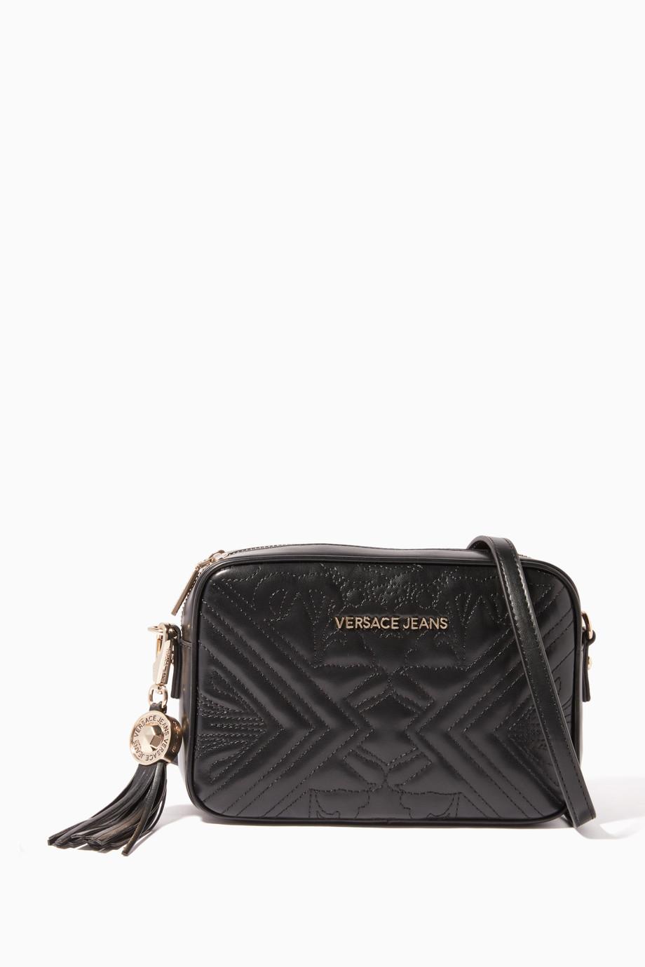 c8c4f35cf9 Shop Versace Jeans Black Embossed Medium Cross-Body Camera ...