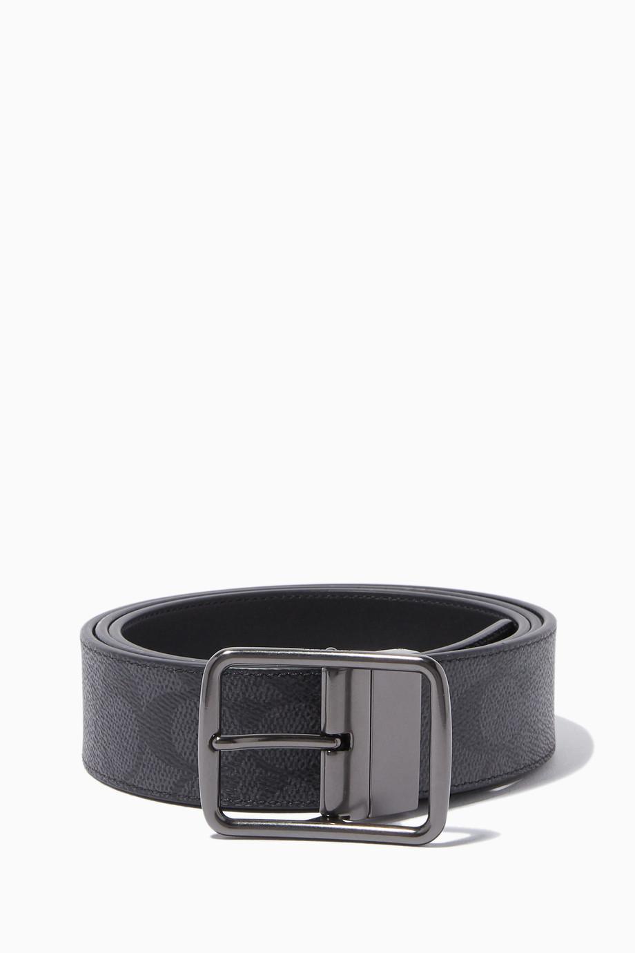 25d72f5a24 Shop Coach Grey Cut-To-Size Reversible Belt for Men   Ounass