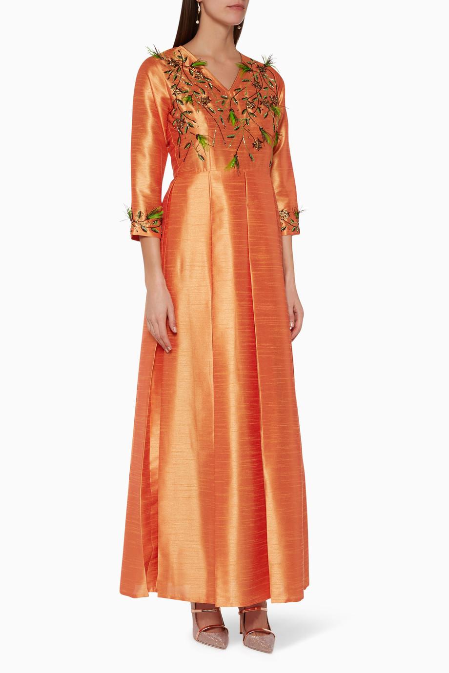 0331e8311dca4 Shop SHAIRA Orange Embellished Silk Kaftan for Women