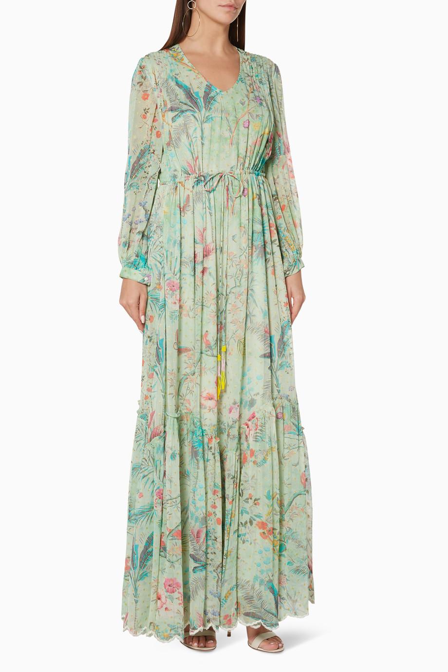 f2e081677 Shop Hemant & Nandita Green Tropical-Print Maxi Dress for Women   Ounass