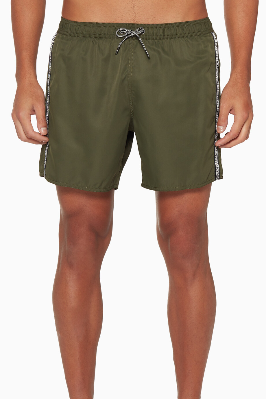 b6ae1d1daccaa Shop Emporio Armani Neutral Logo Tape Swim Shorts for Men | Ounass ...