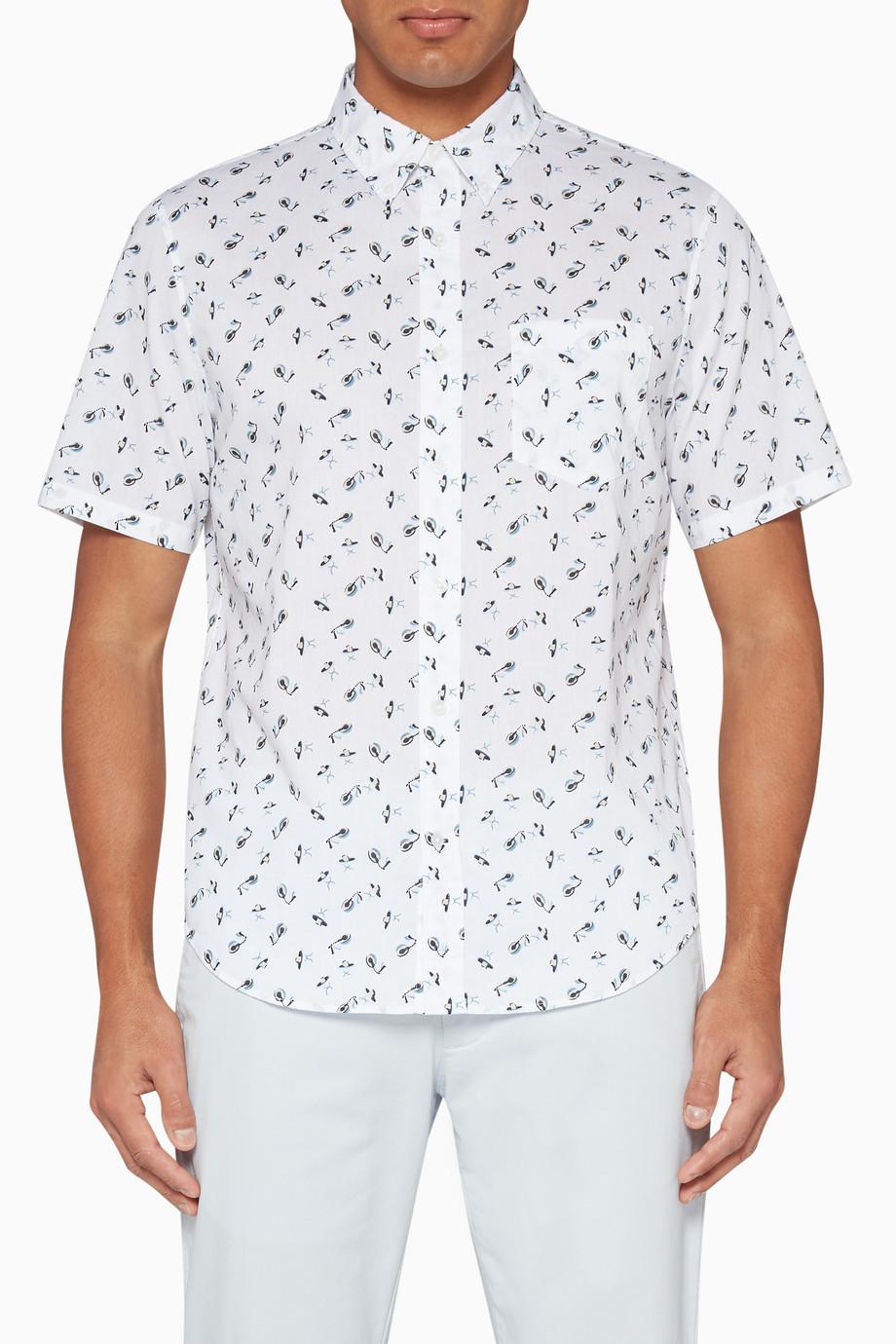 f7ec6f742117 Shop Club Monaco White Ditsy Sombrero Print Cotton Shirt for Men ...