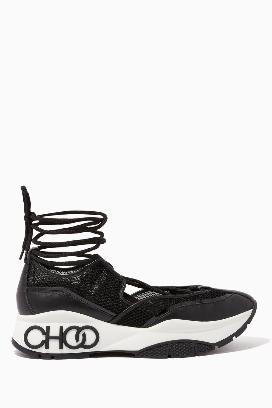 4bd1b2dd1c Shop Jimmy Choo Black Michigan Mesh & Patent Nappa Leather Sneakers ...