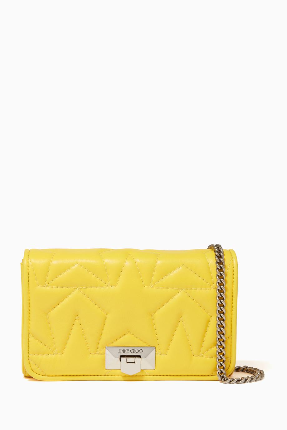 31aaf89a2dc Shop Jimmy Choo Yellow Helia Leather Clutch Bag for Women | Ounass