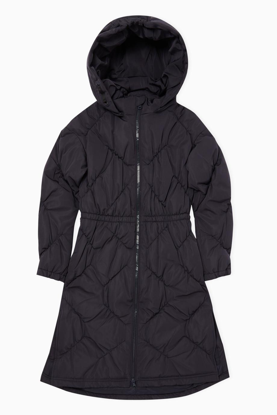 ba7aa529bc Shop Emporio Armani Blue Long Puffer Hooded Jacket for Kids | Ounass UAE