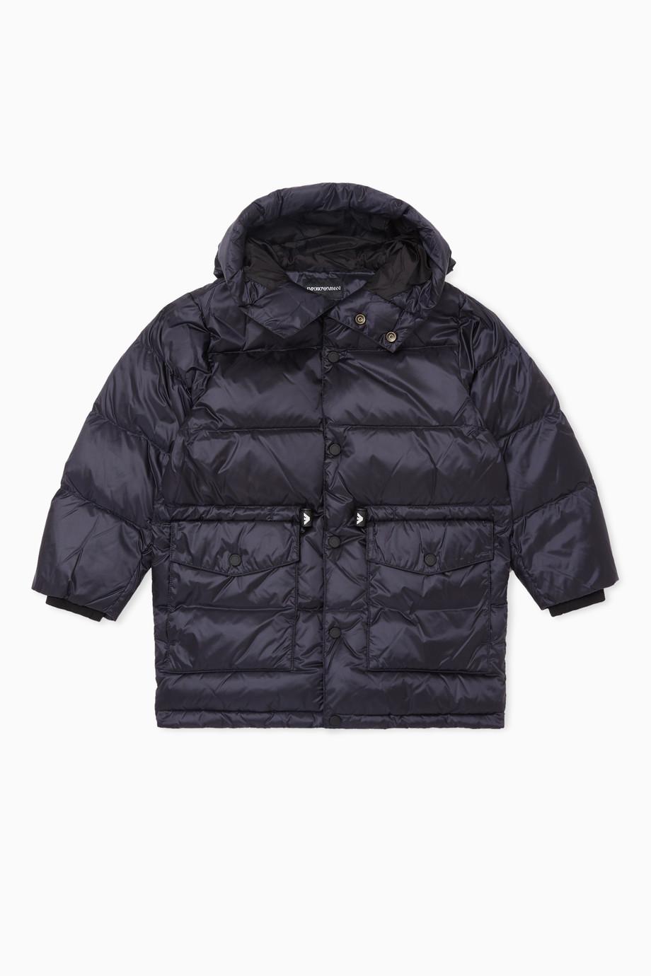 e61686b793 Shop Emporio Armani Blue Puffer Hooded Jacket for Kids | Ounass