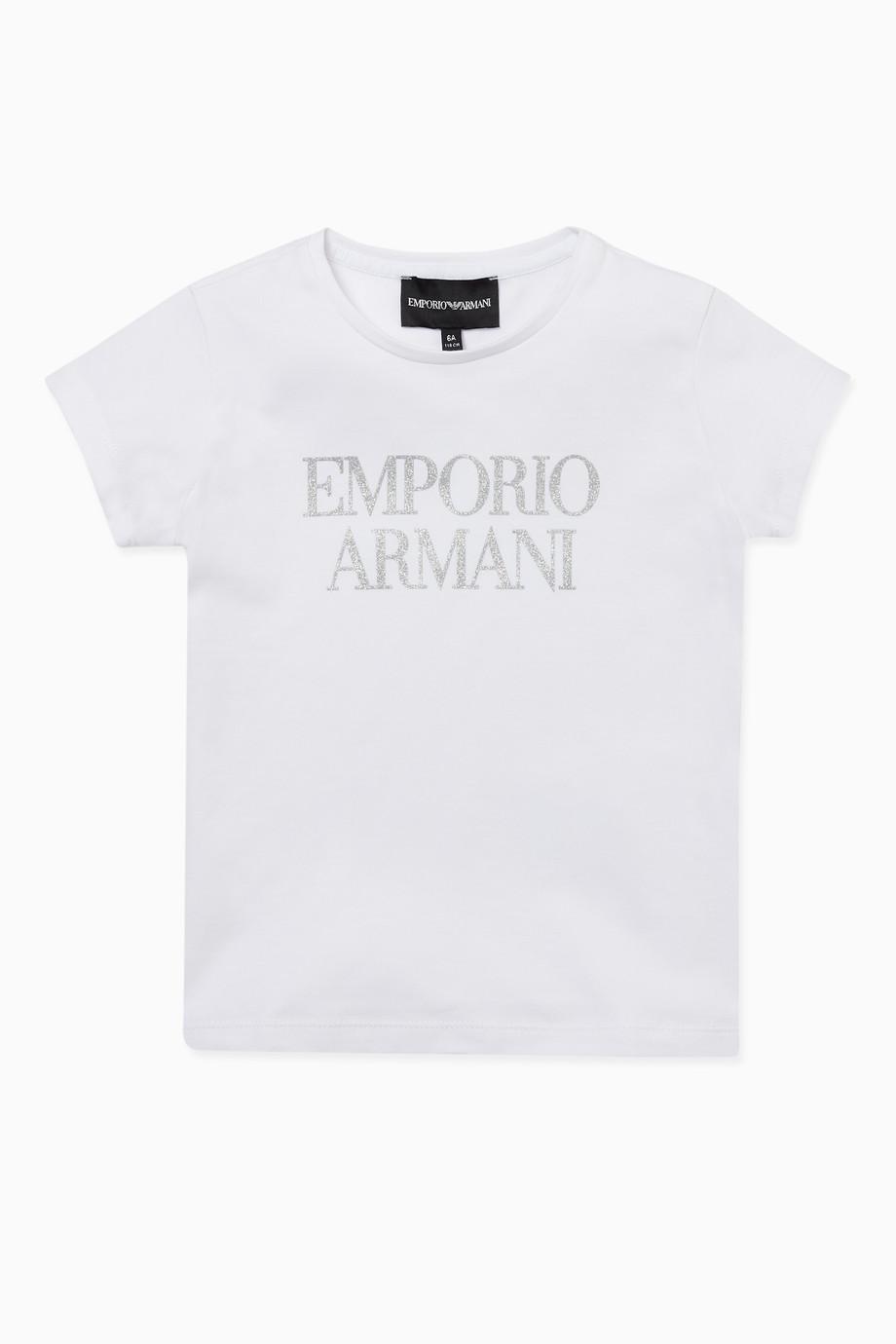757f5a59 Shop Emporio Armani White Glitter Logo Print T-Shirt for Kids | Ounass