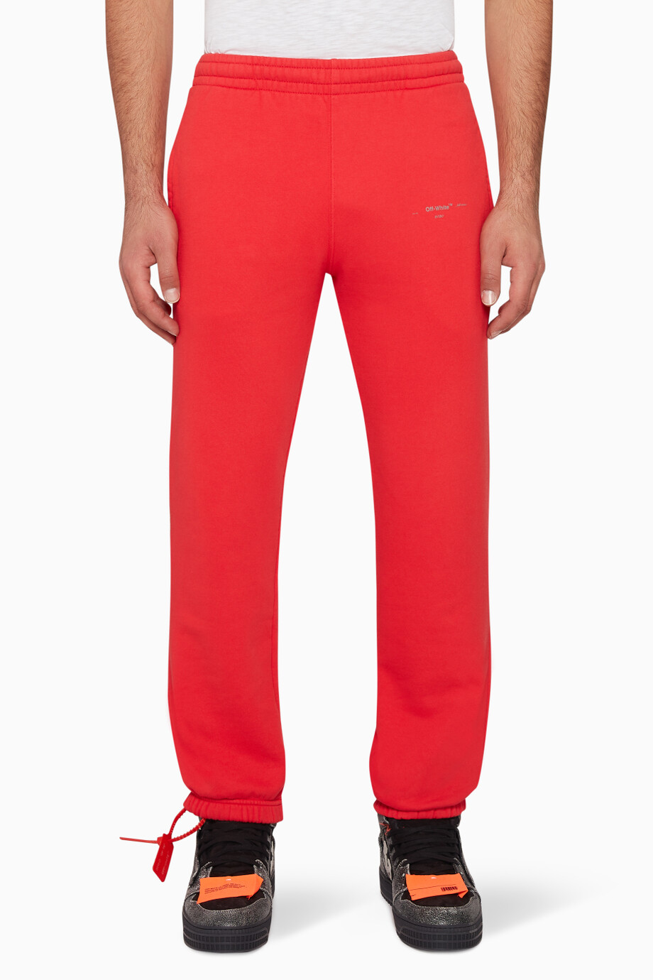 38340a4e Shop Off-White Red Unfinished Cotton Track Pants for Men | Ounass UAE