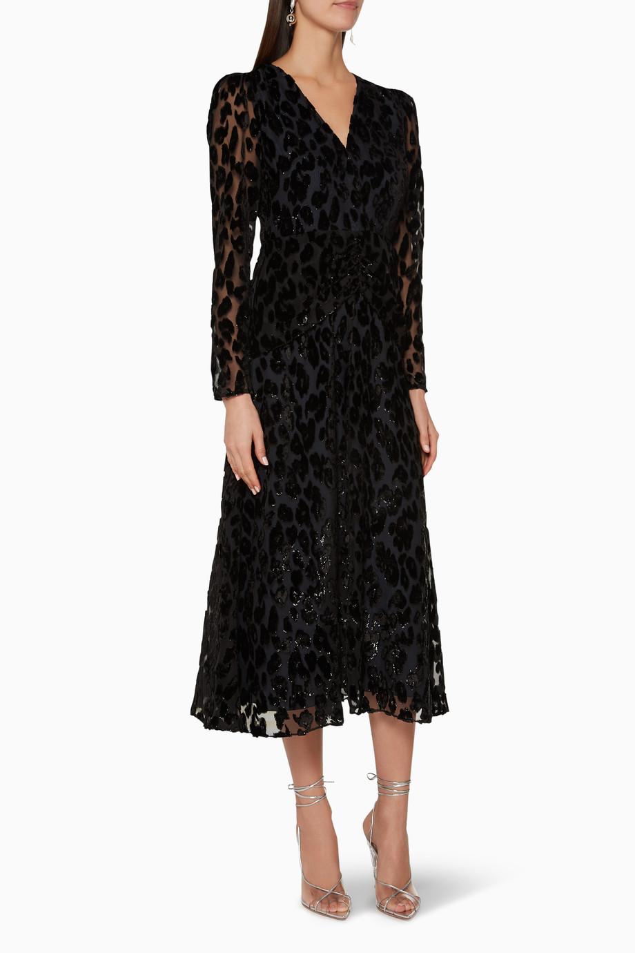 8aa2f046b719 Shop Self-Portrait Black Metallic Leopard Midi Dress for Women | Ounass