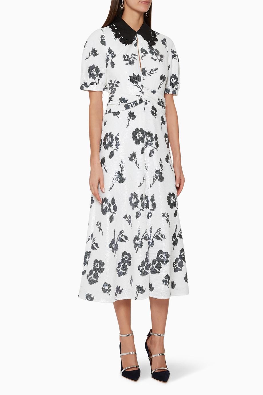 4976ae704bab Shop Self-Portrait White Floral Sequin Midi Dress for Women | Ounass