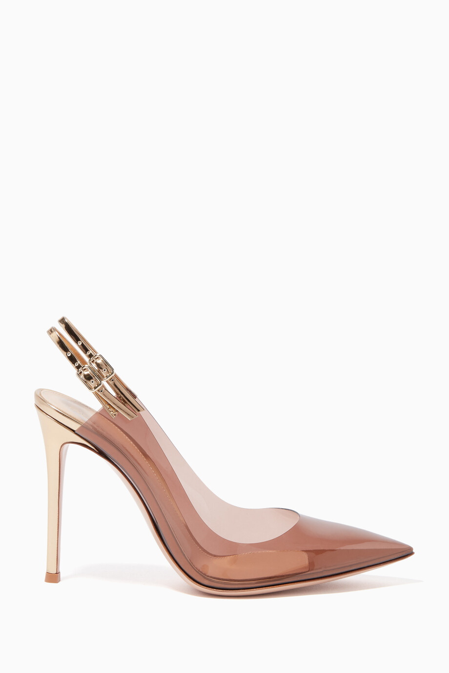 Shop Gianvito Rossi Pink Kylie Plexi Slingback Pumps for