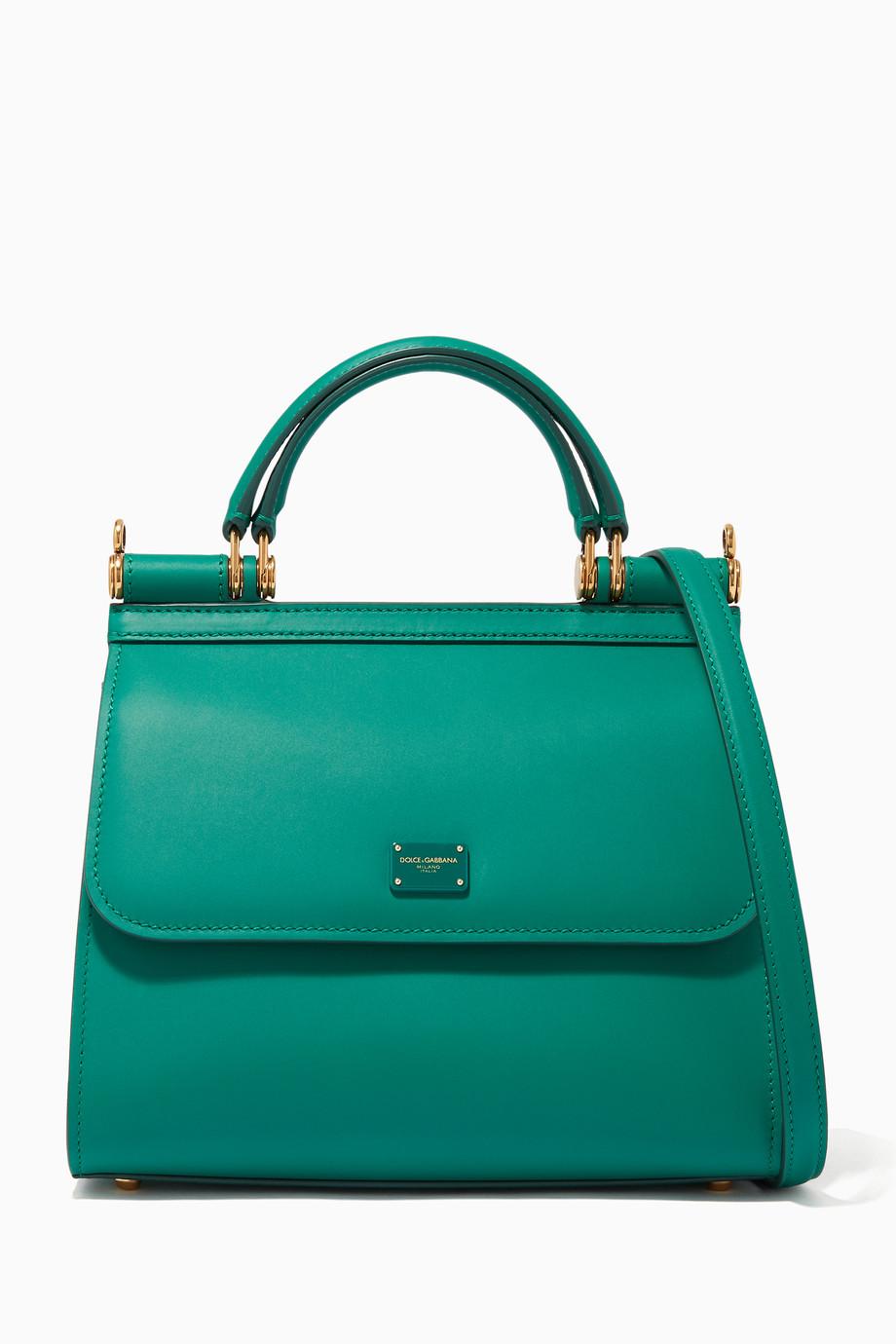 16555b11394 Shop Dolce & Gabbana Green Sicily 58 Small Calfskin Bag for Women ...