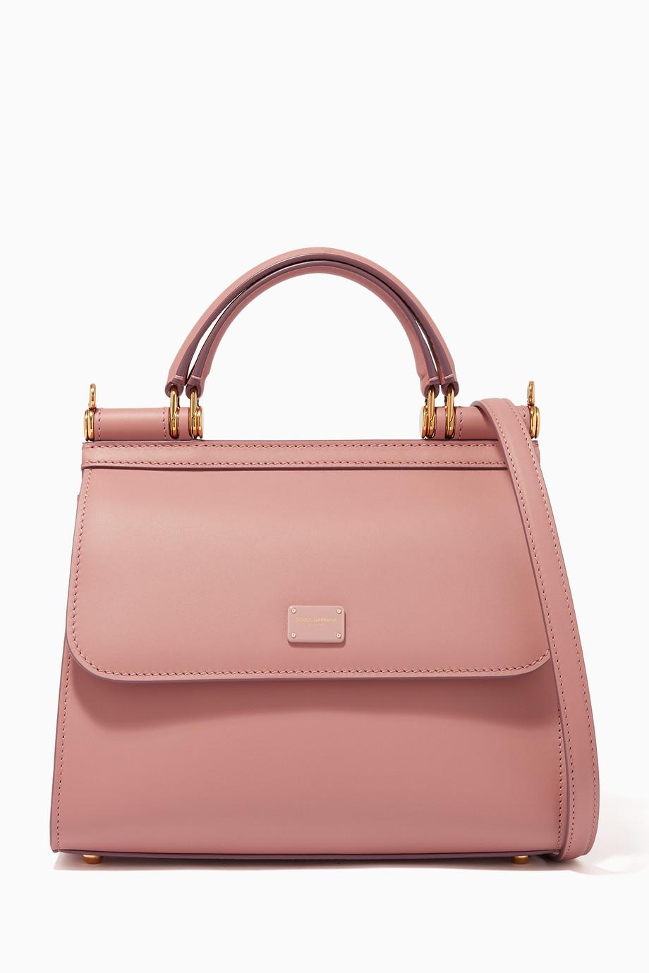 548c6ebc191 Shop Dolce & Gabbana Pink Sicily 58 Small Calfskin Bag for Women ...