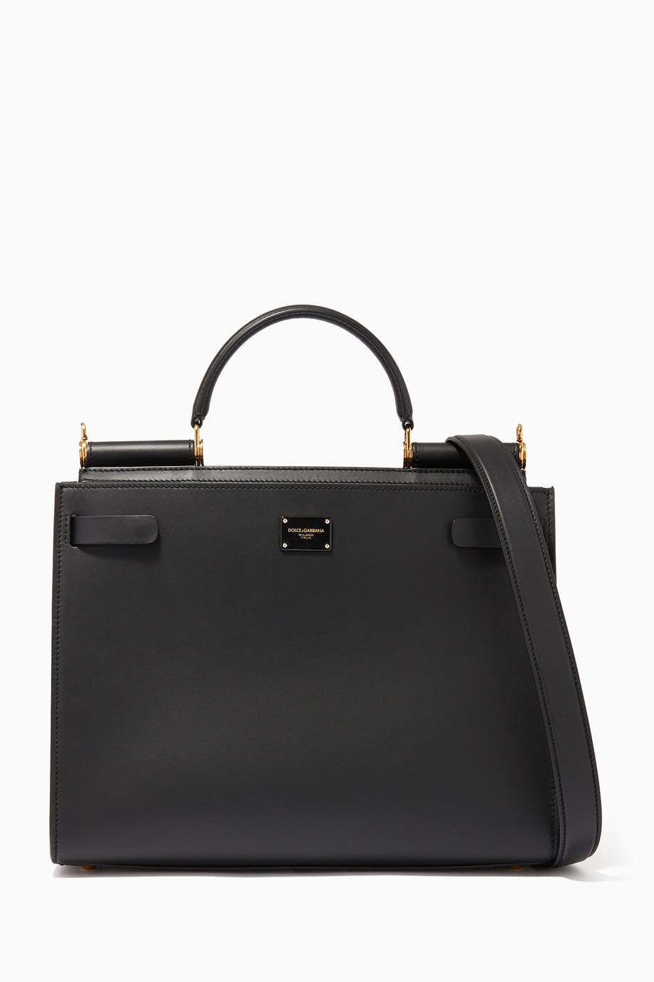72c5f446271 Shop Dolce & Gabbana Black Sicily 62 Large Calfskin Handbag for ...