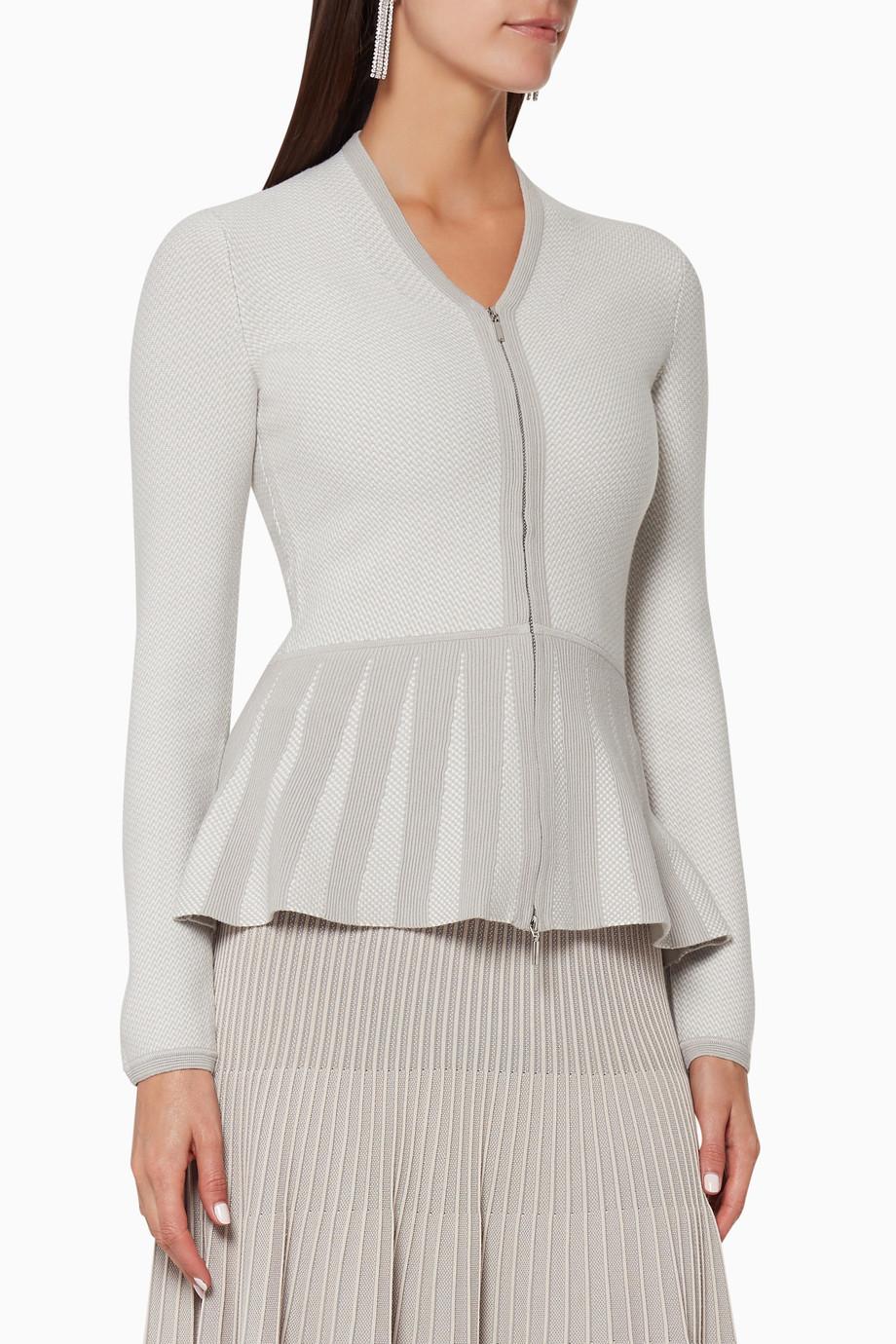 bf442cf1d5 Shop Emporio Armani Grey Knitted Peplum Jacket for Women | Ounass