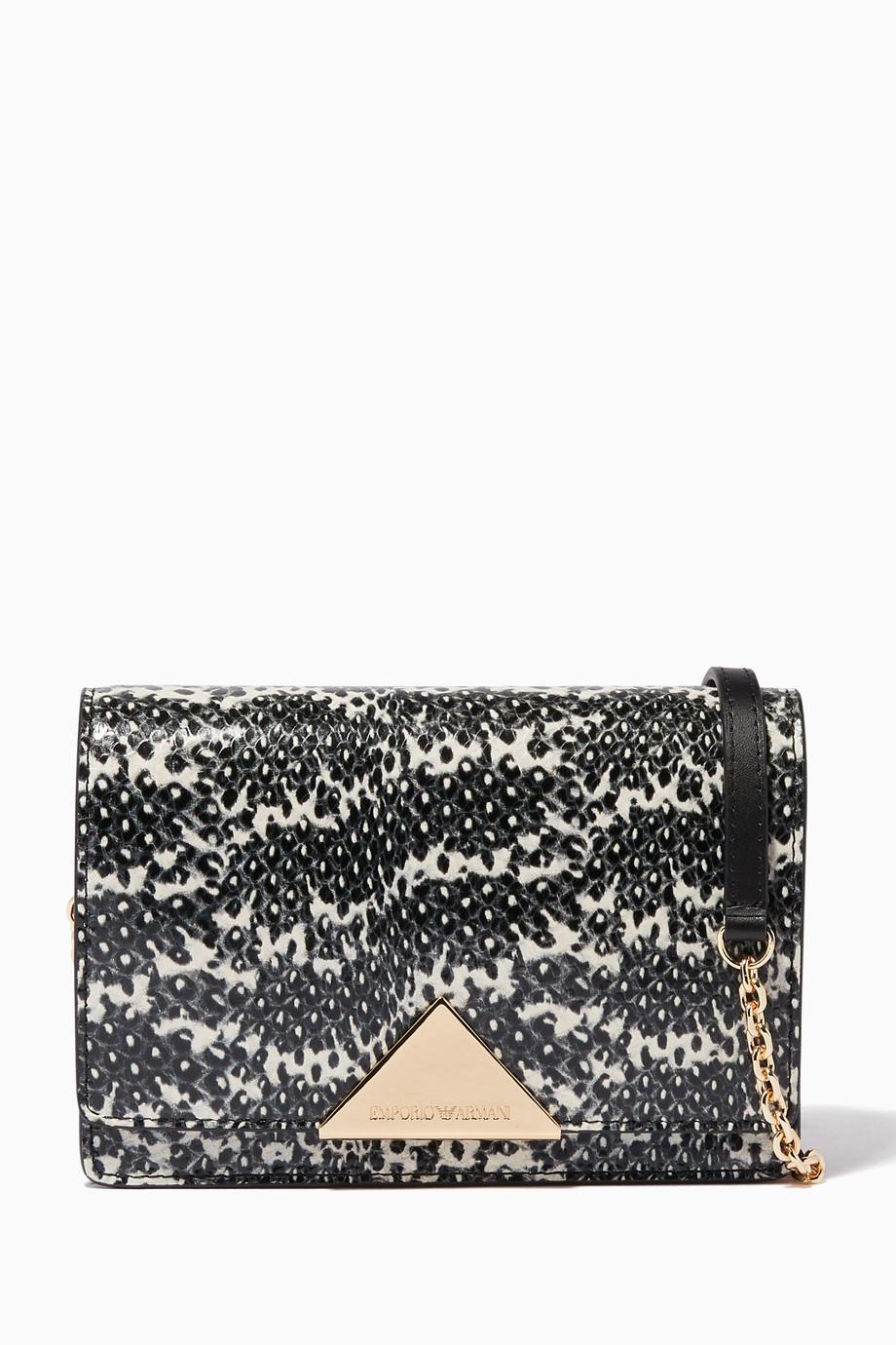 1eb232970f Shop Black Elle Lizard-Embossed Leather Bag for Women   Ounass UAE