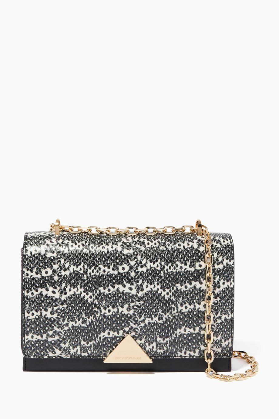 8283251831 Shop Emporio Armani Black Lizard-Print Shoulder Bag for Women ...