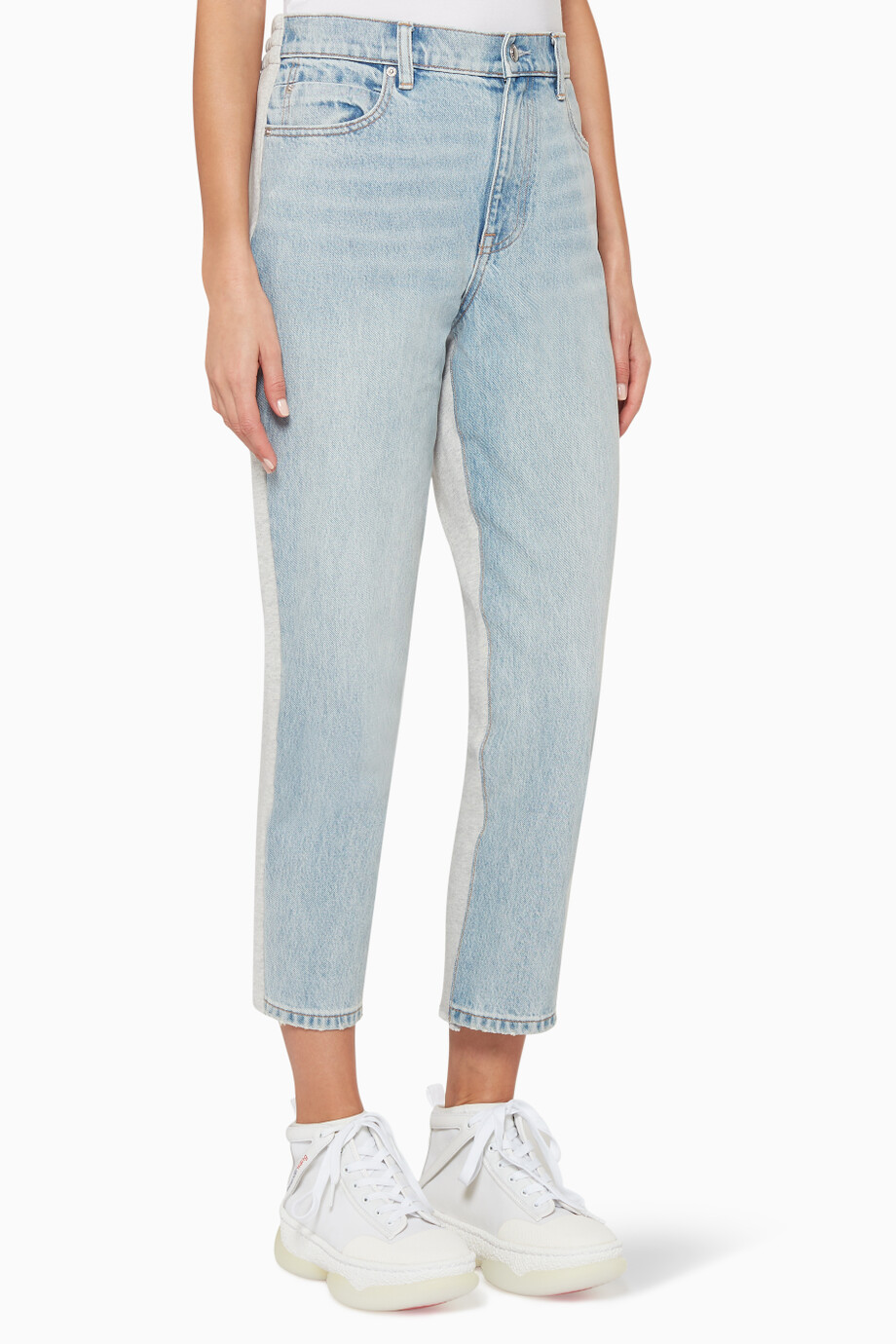 6932a258 Shop Alexander Wang Blue Ride Clash Denim & Cotton Tapered Pants for ...