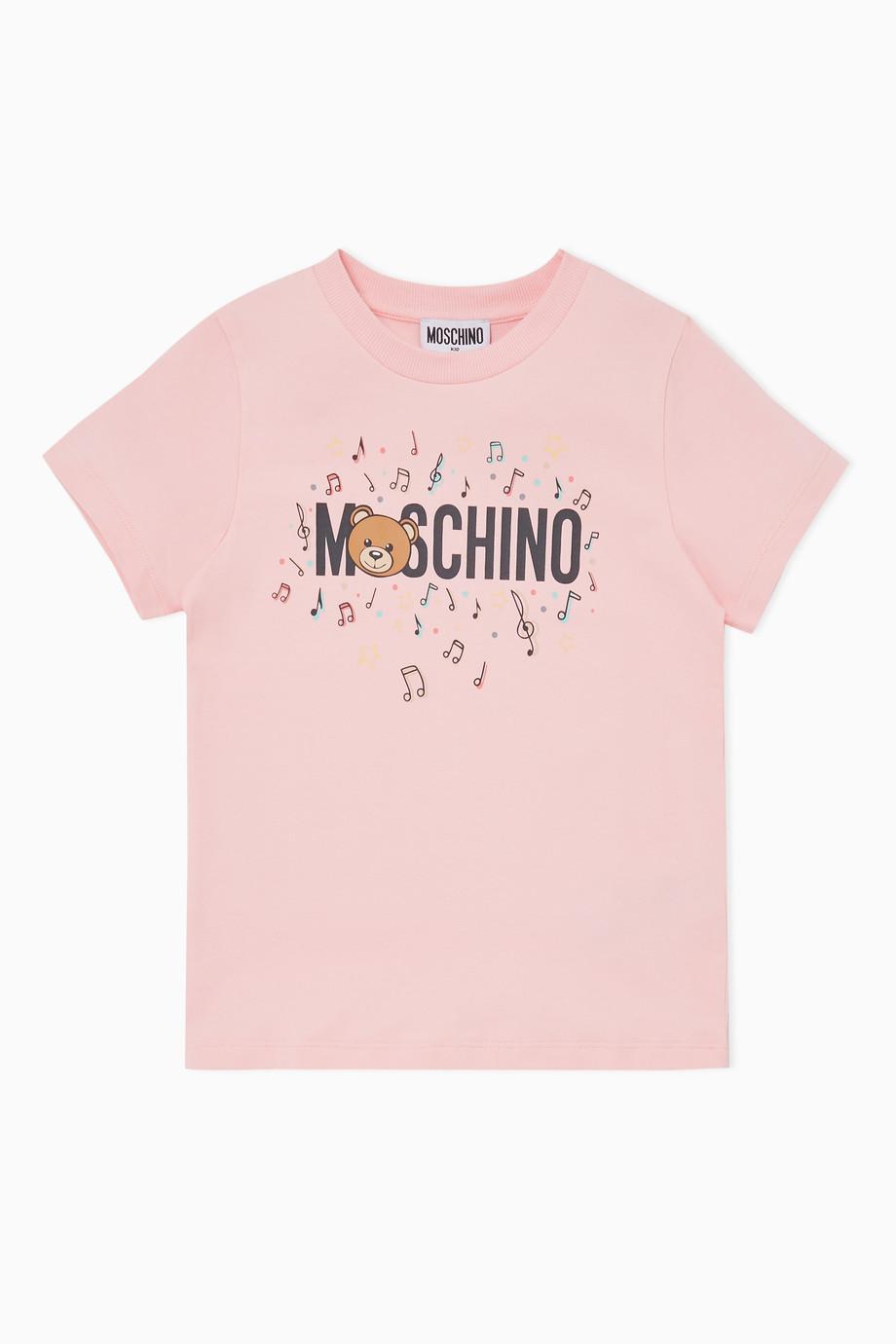 42086551f Shop Moschino Pink Music Logo Print T-Shirt for Kids | Ounass UAE