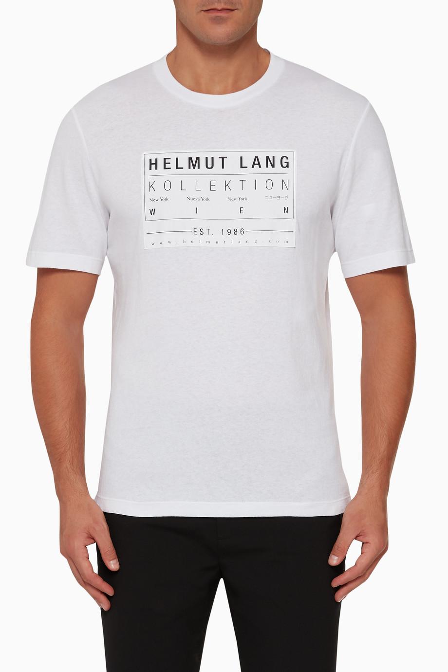 7887590e0 Shop Helmut Lang White Patch Logo Short-Sleeved T-Shirt for Men ...