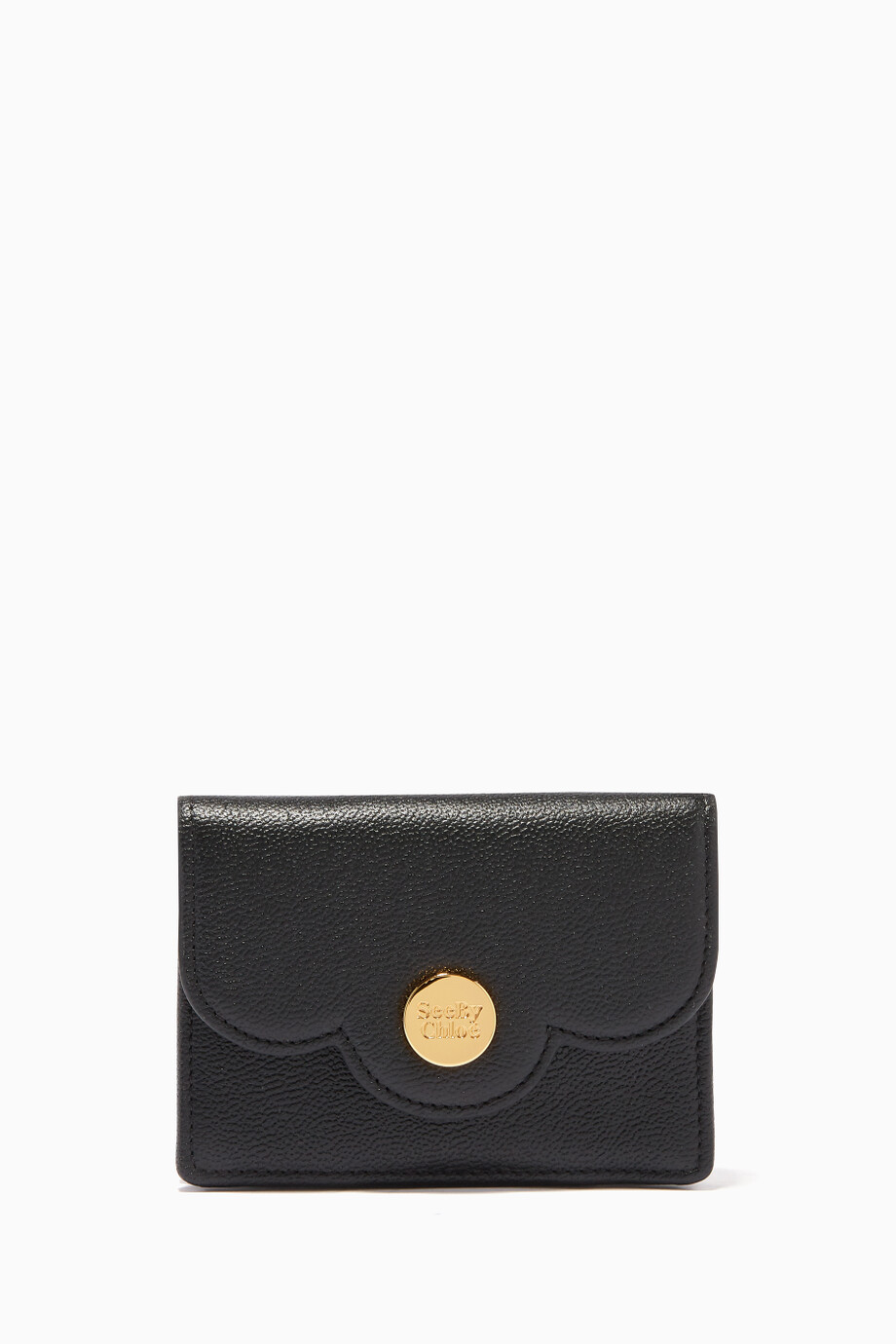 a3836d55 Shop See By Chloé Black Polina Small Scalloped-Edge Wallet for Women ...