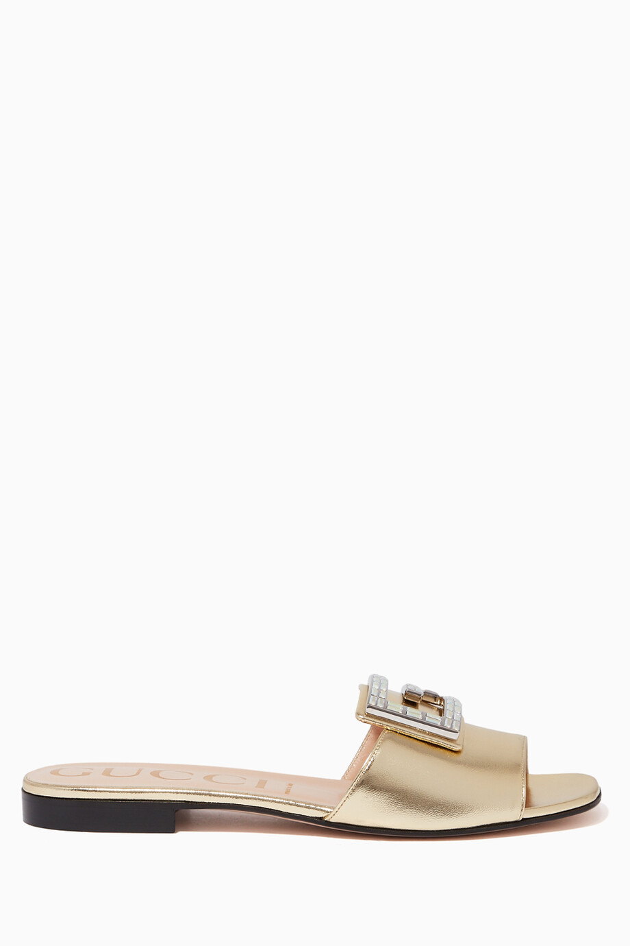 7d3f184d0 Shop Gucci Gold Madelyn Metallic Leather Slides for Women | Ounass